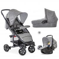 Set Carucior Malibu 4 Trio Set Melange Grey